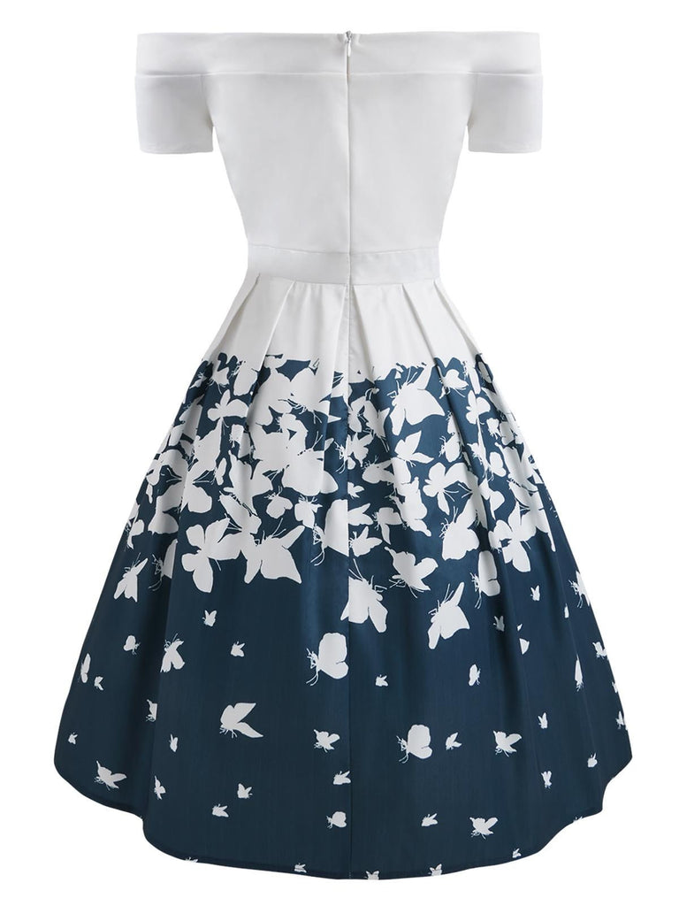 1950s Butterfly Off Shoulder Dress