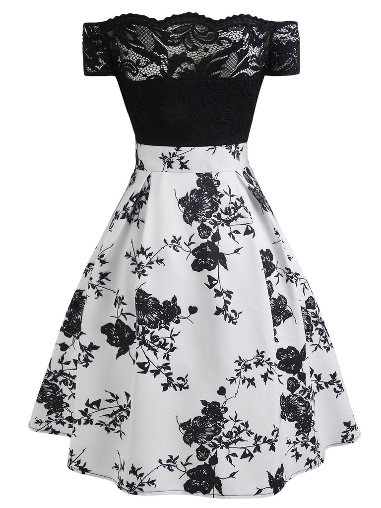 White 1950s Floral Off Shoulder Lace Dress