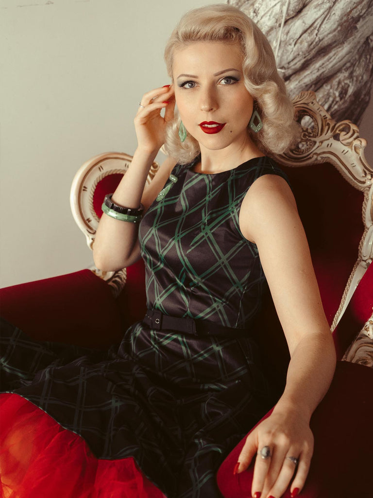 Green 1950s Plaid Belted Swing Dress
