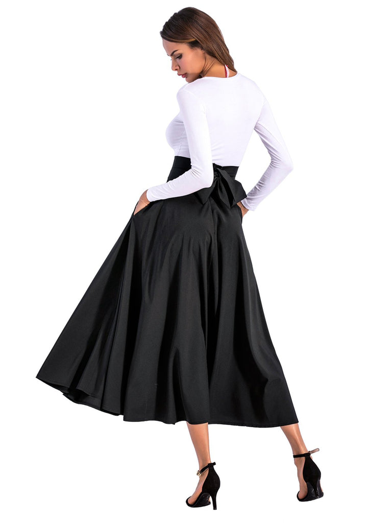 Vintage Solid Back Bow Pocket Long Skirts