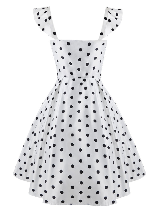White 1950s Sweetheart Polka Dot Dress