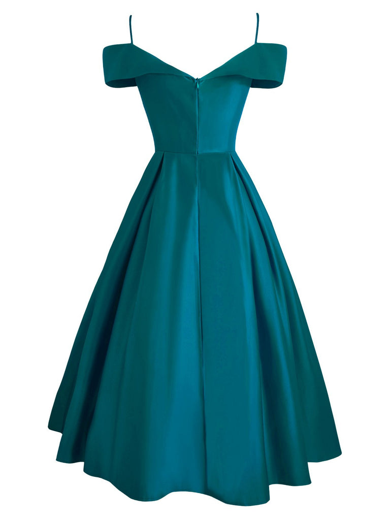 1950s Cold Shoulder Belted Dress