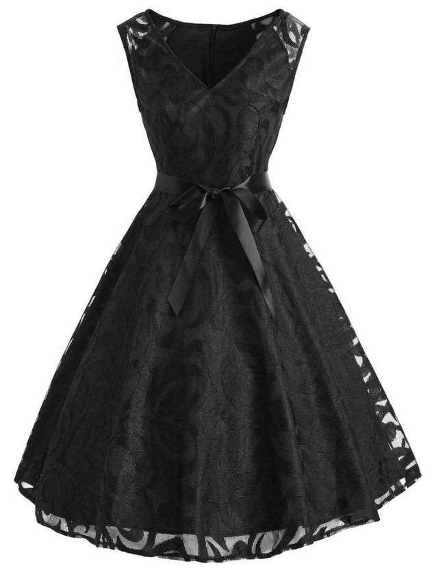 1950s Lace Belted Swing Dress