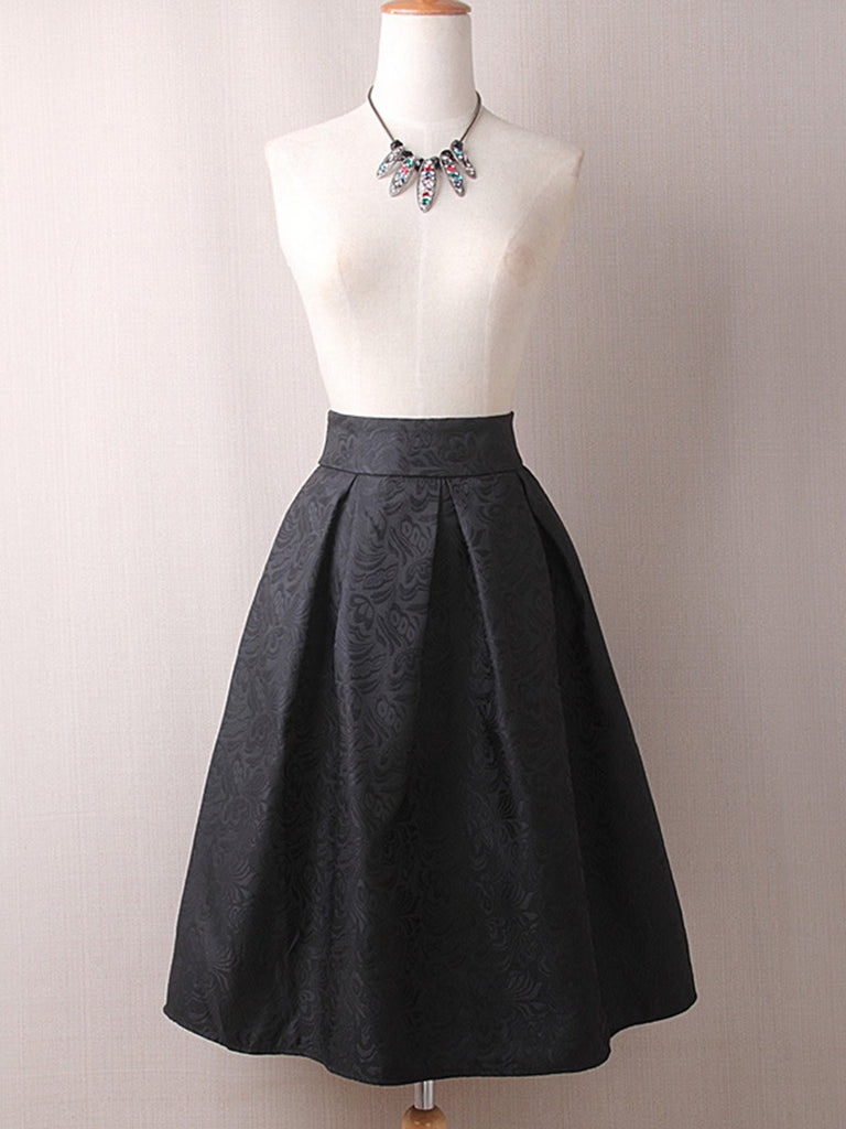 Vintage Solid Elegant Pleated Midi Skirt