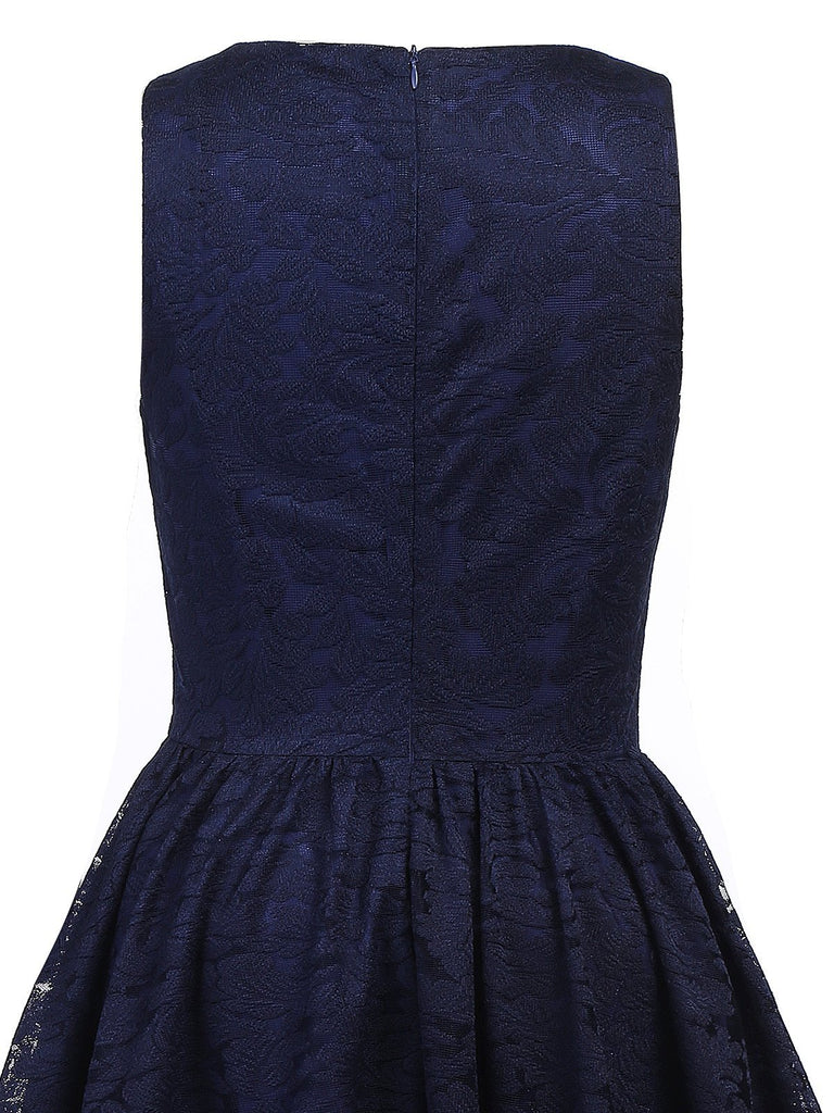 Navy Blue 1950s Lace High Low Dress