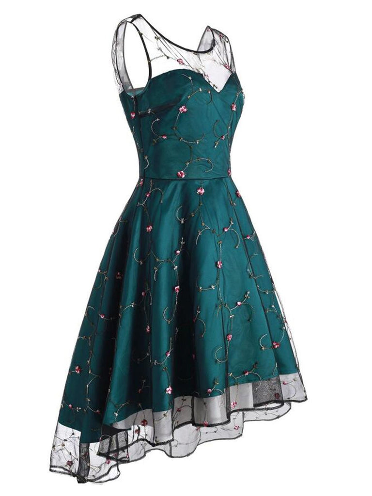 1950s Mesh Hi-Lo Back Lace Up Dress