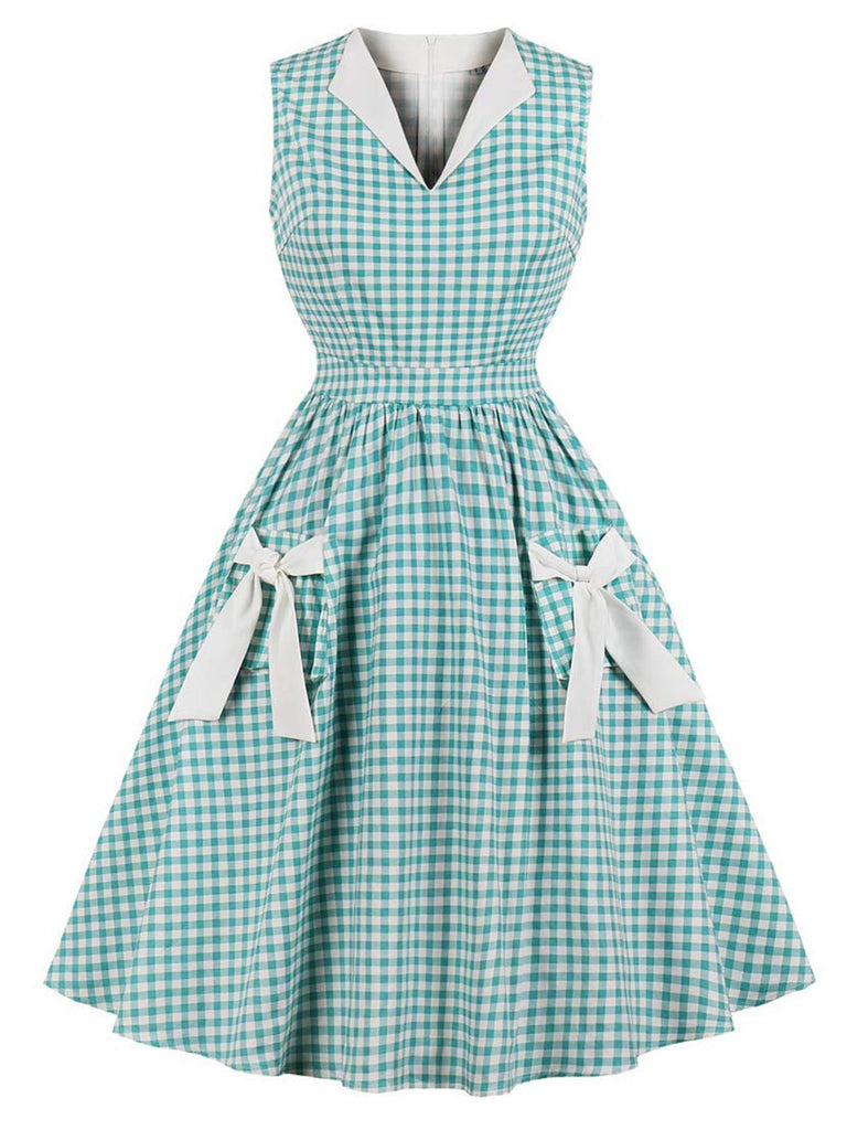 US Only Green 1950s Plaid Bow Pockets Dress