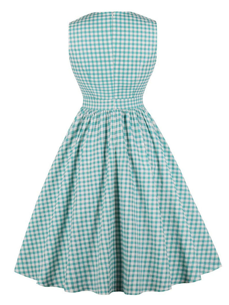 Cotton 1950s Green Plaid Bow Pockets Dress