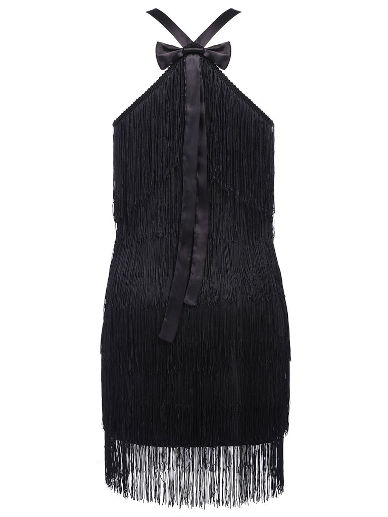 Black 1920s Back Bow Sequin Tassel Flapper Dress