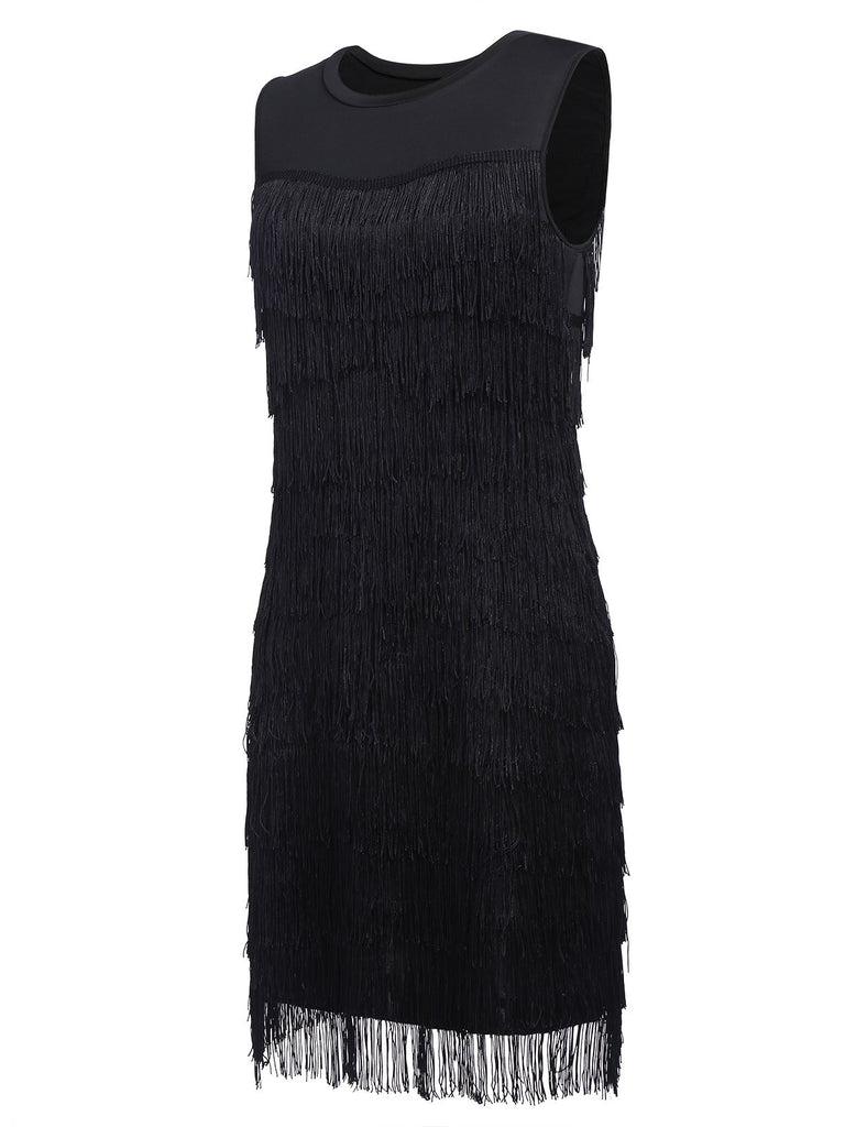 US Only Black 1920s Sequin Tassel Flapper Dress