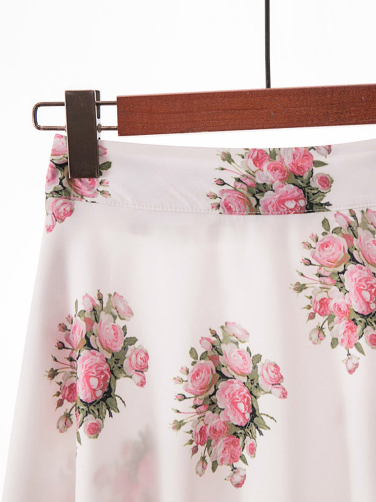 Vintage Floral High Waist Pleated Skirt