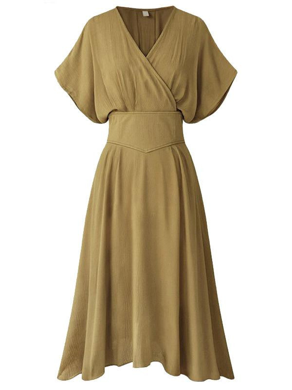 Khaki 1940s Solid Bat Sleeve Swing Dress