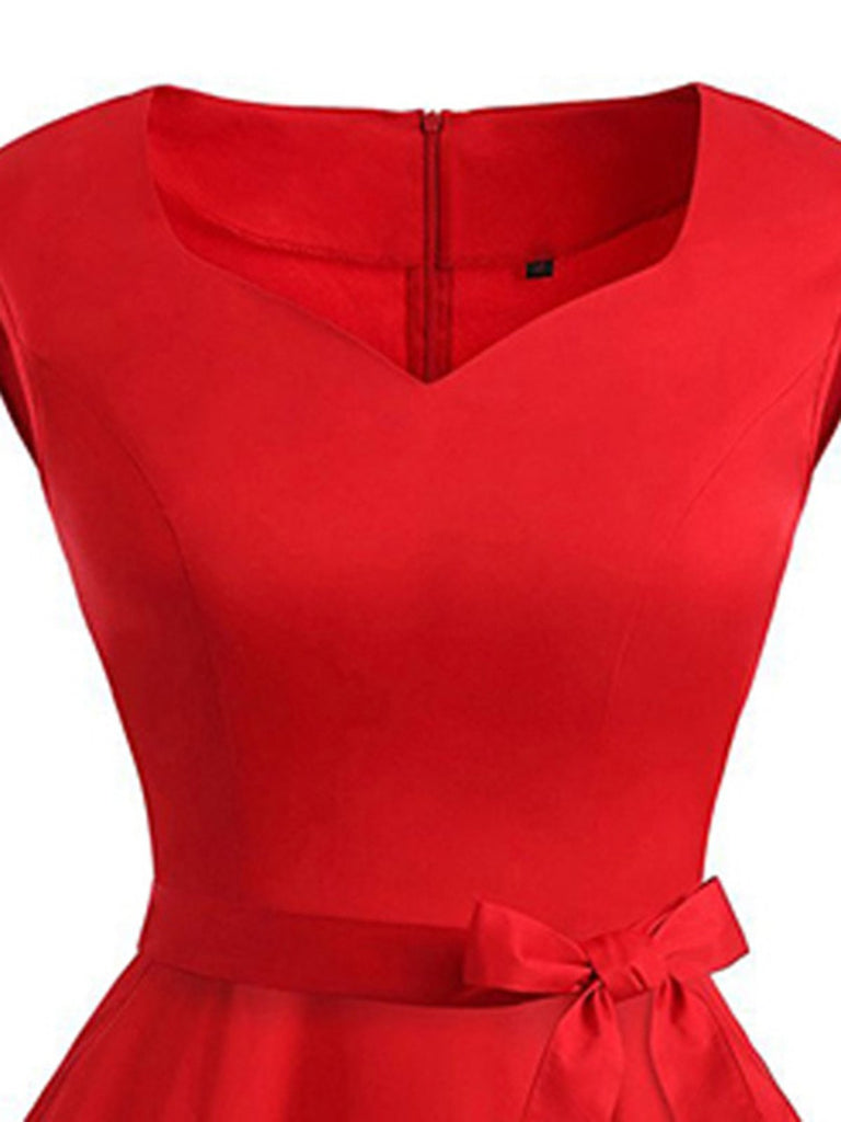 US Only Red 1950s Sweetheart Swing Dress