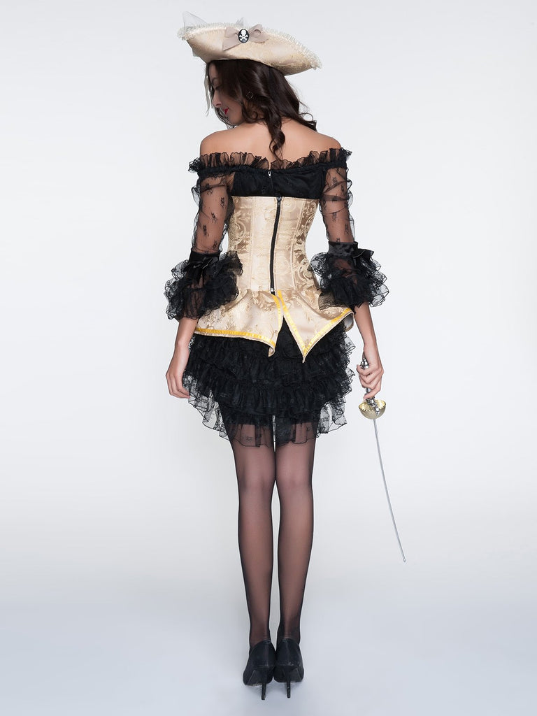 Halloween Steampunk Lace Corset Strapless Dress