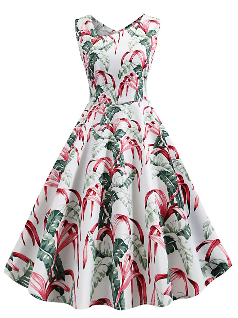1950s Tropical Plants Swing Dress