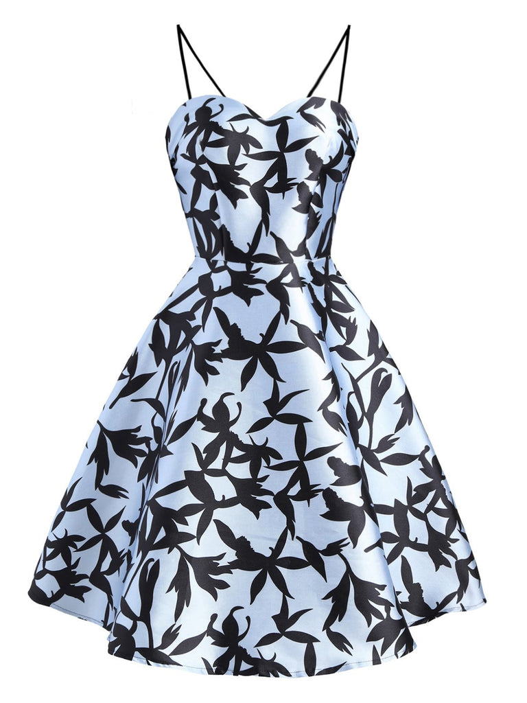 Blue 1950s Floral Swing Strap Dress