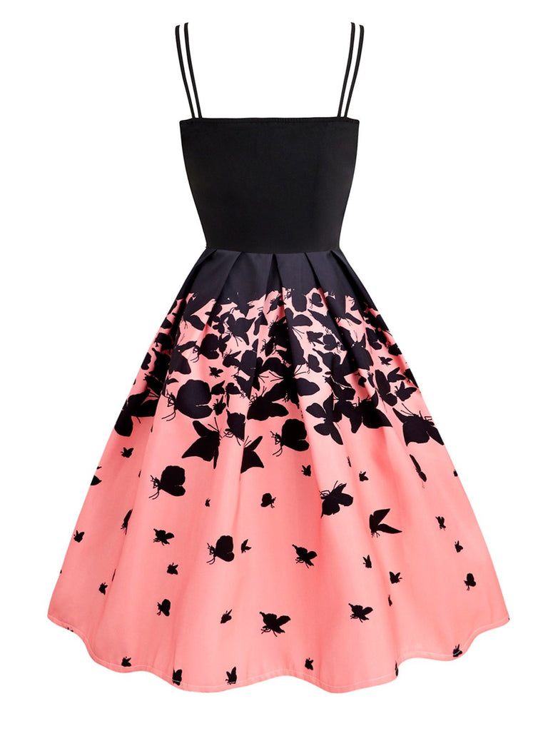 Pink 1950s Strap Butterfly Swing Dress