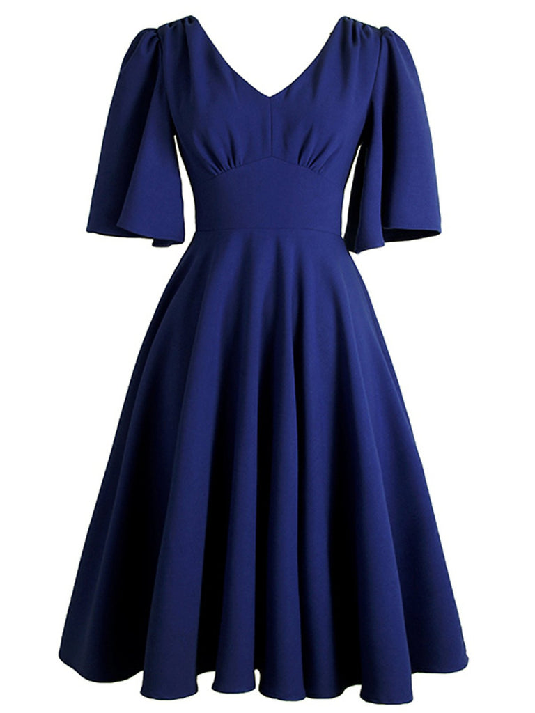 1950s Front Pleated Swing Dress