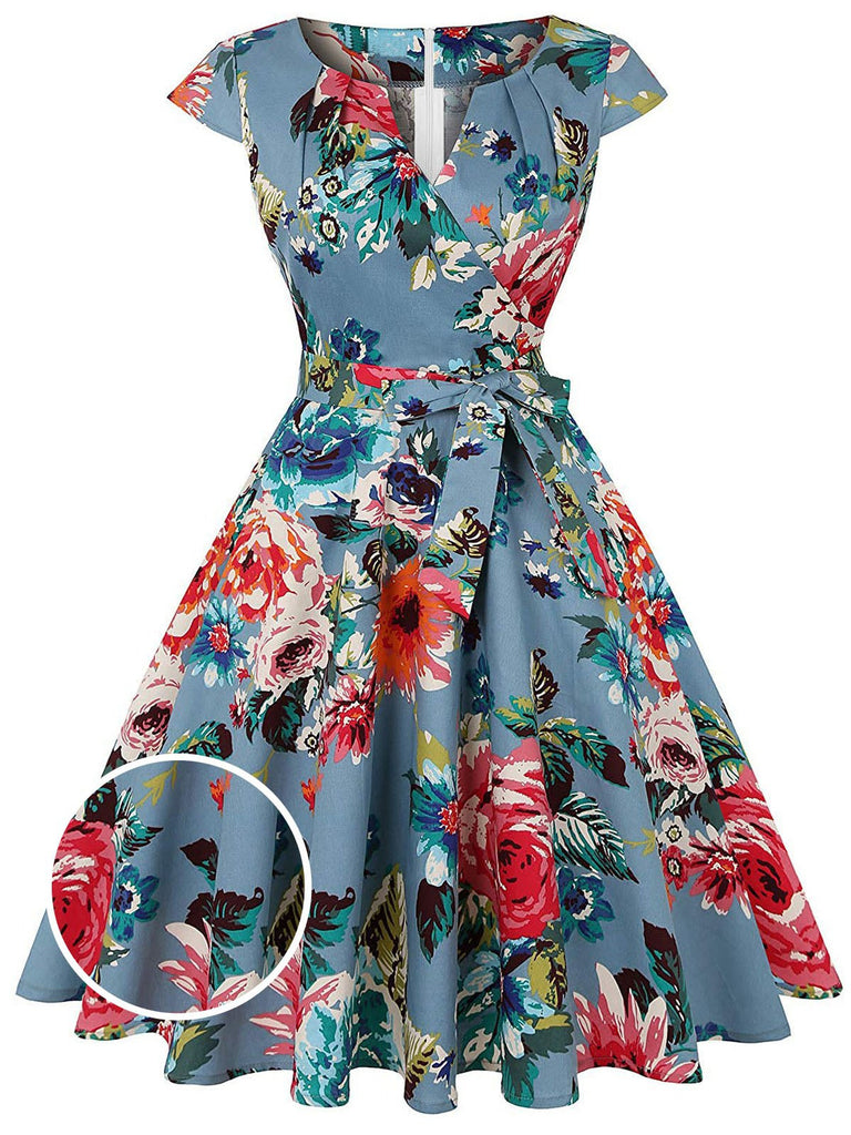Blue 1950s Floral Bow Swing Dress