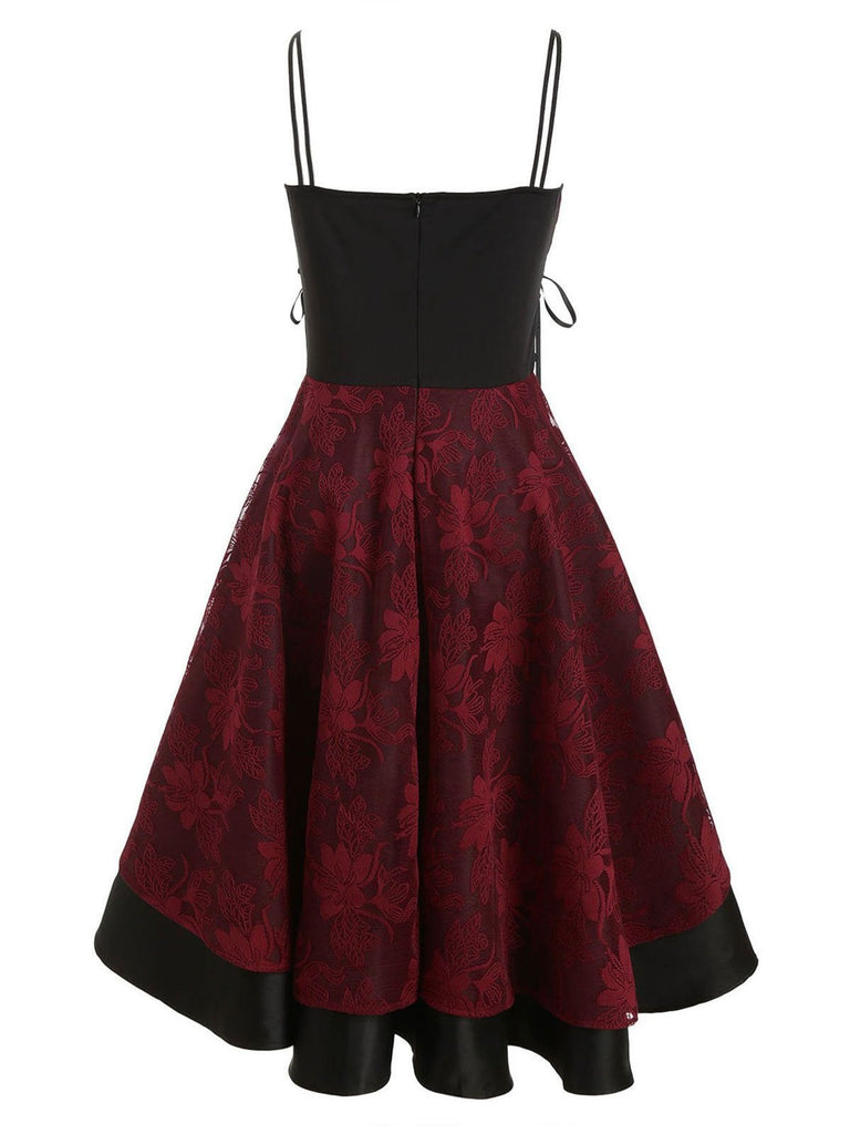 1950s Floral Lace Patchwork Strap Dress