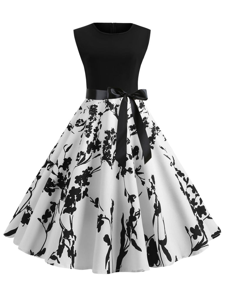 1950s Patchwork Bow Swing Dress