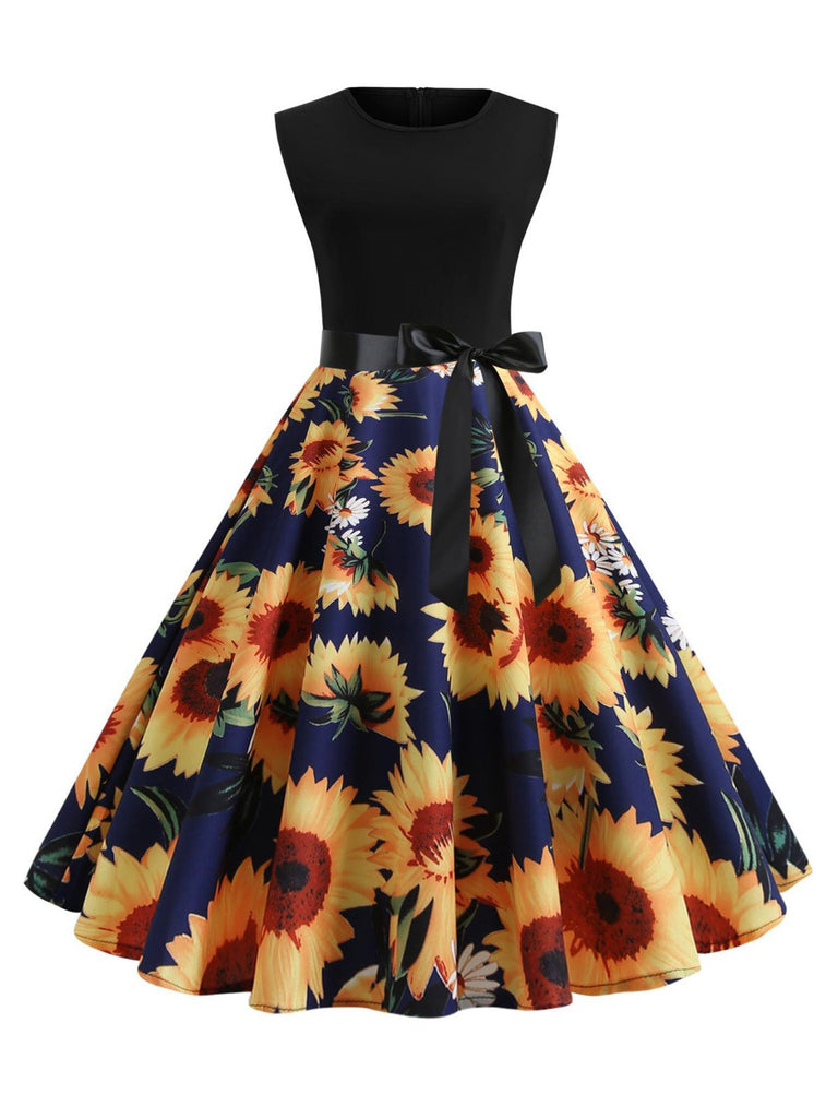 1950s Floral Bow Swing Dress