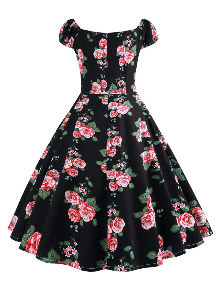 1950s Inspired Rose Swing Dress