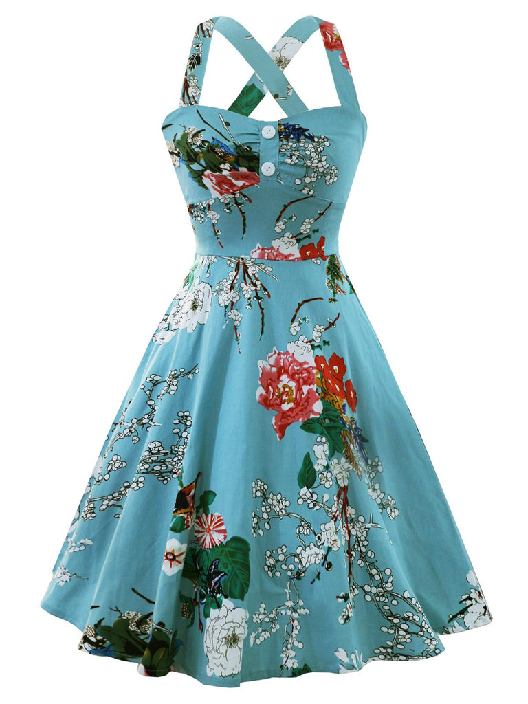 1950s Floral Button Swing Dress