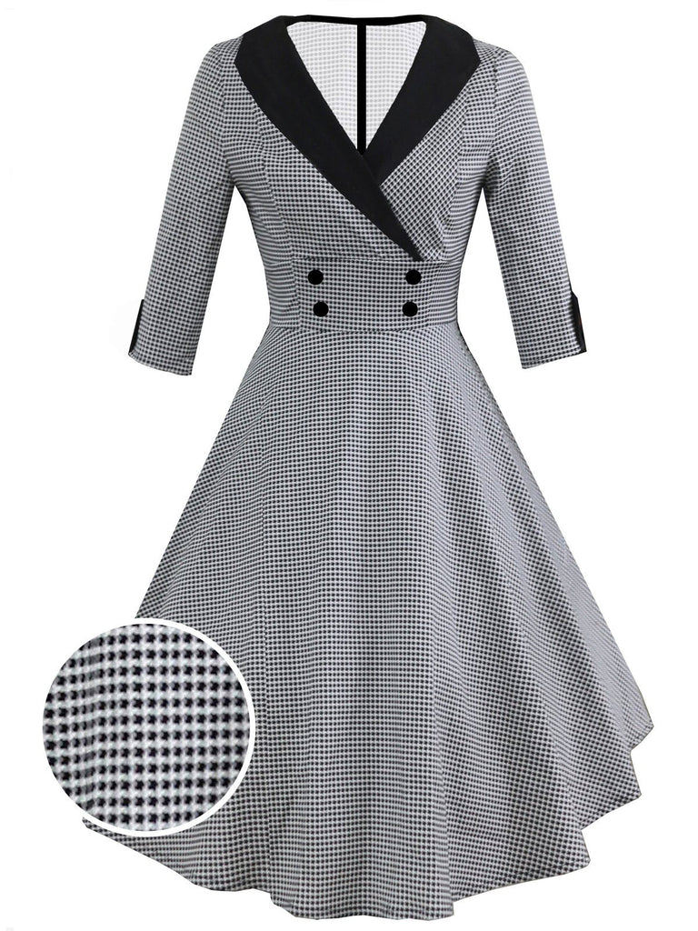 US Only Gray 1950s Plaid 3/4 Sleeve Swing Dress