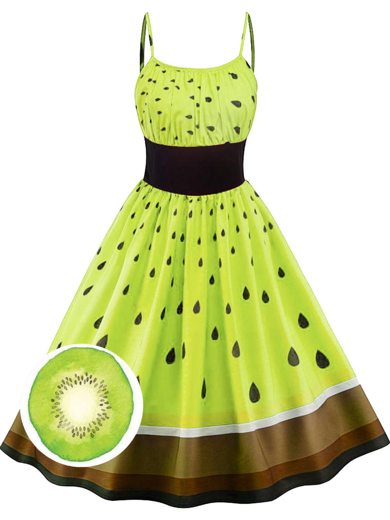 Green 1950s Fruit Spaghetti Swing Dress