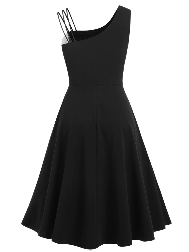 Black 1950s Solid Spaghetti Dress