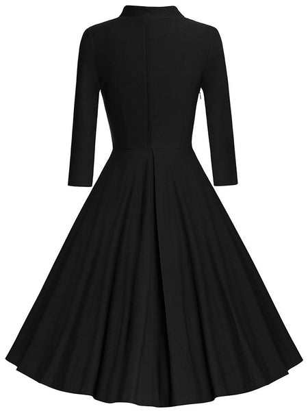 1950s Solid Long Sleeve Swing Dress Retro Stage Chic