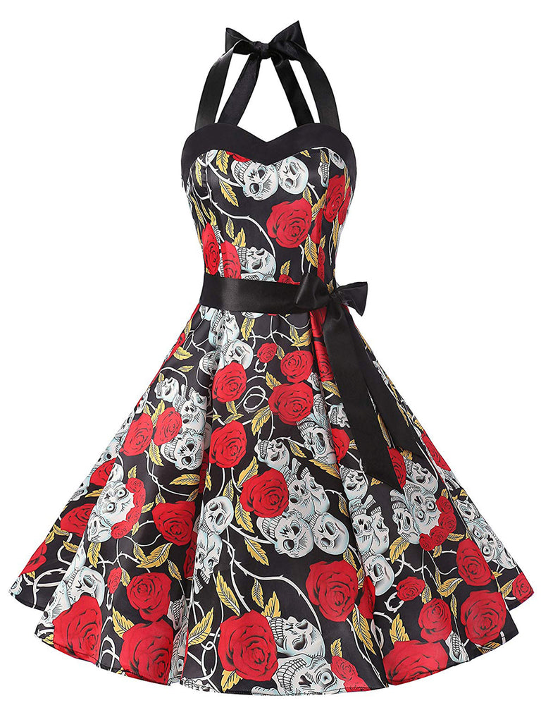 Black 1950s Rose Skull Halloween Dress