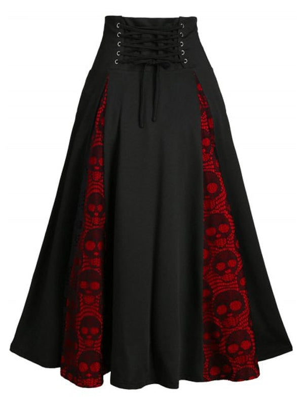 Black Halloween Skull Lace-up Skirts