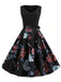 Black 1950s Floral Belted Swing Dress