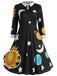 Black 1950s 3/4 Sleeve Planet Swing Dress