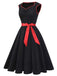 Black 1950s Sweetheart Bow Swing Dress