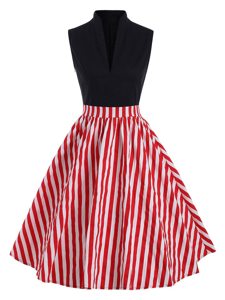 Red 1950s Patchwork Stripe Swing Dress