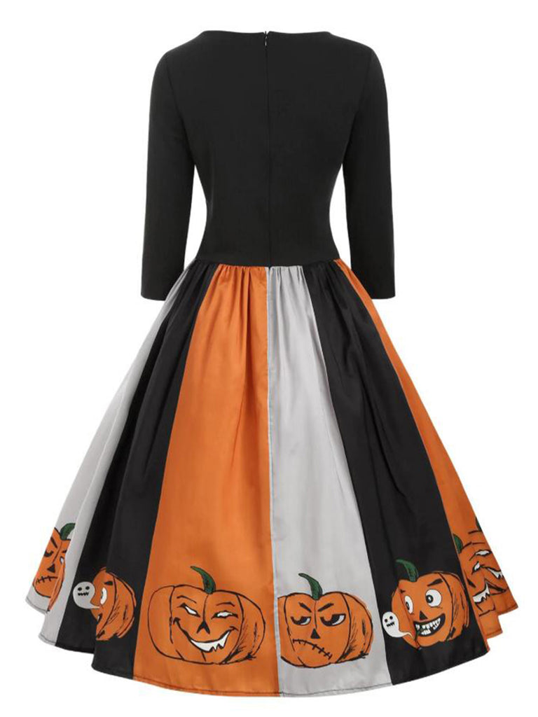 Black 1950s Halloween Pumpkin Dress