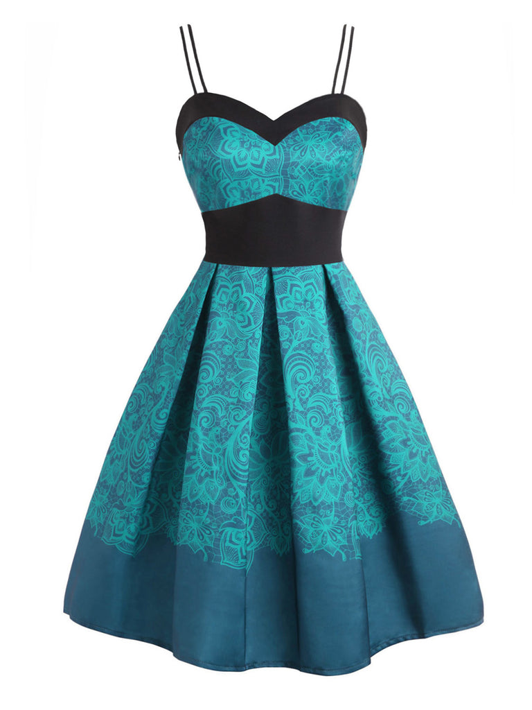 Blue 1950s Spaghetti Floral Swing Dress
