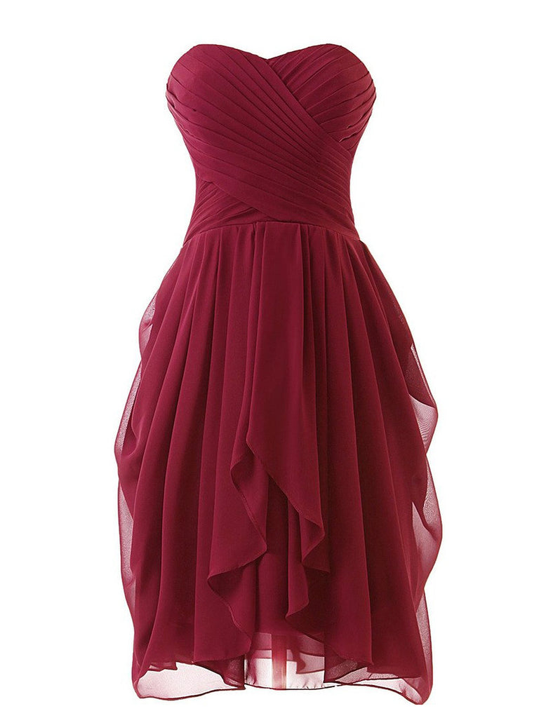 Vintage Solid Lace Up Bridesmaid Dress