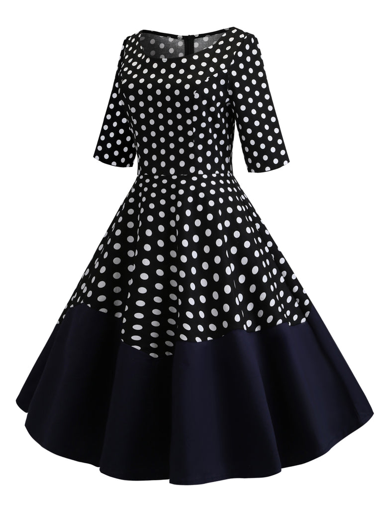 Black 1950s Polka Dot Patchwork Dress
