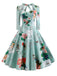 1950s Floral Sweetheart Bow Swing Dress