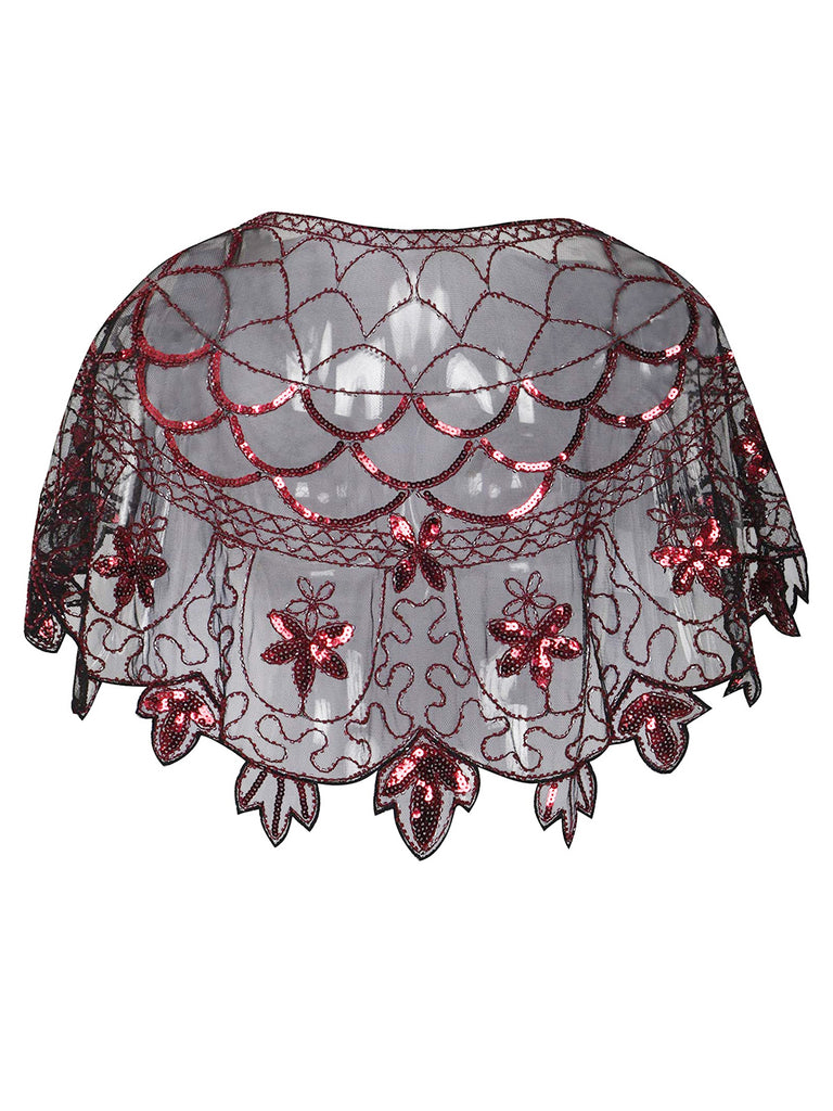 1920s Fish-scale Embroidery Sequined Cape