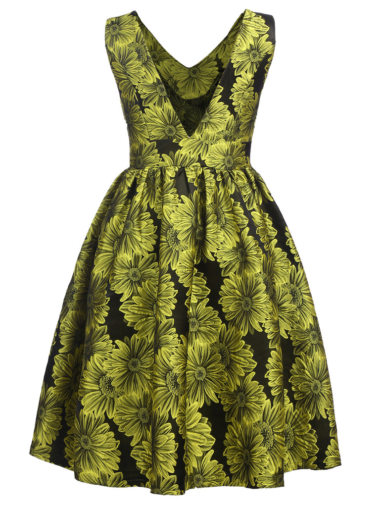 Green 1950s Floral Swing Dress