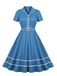 Blue 1950s Turn Down Collar Belt Dress
