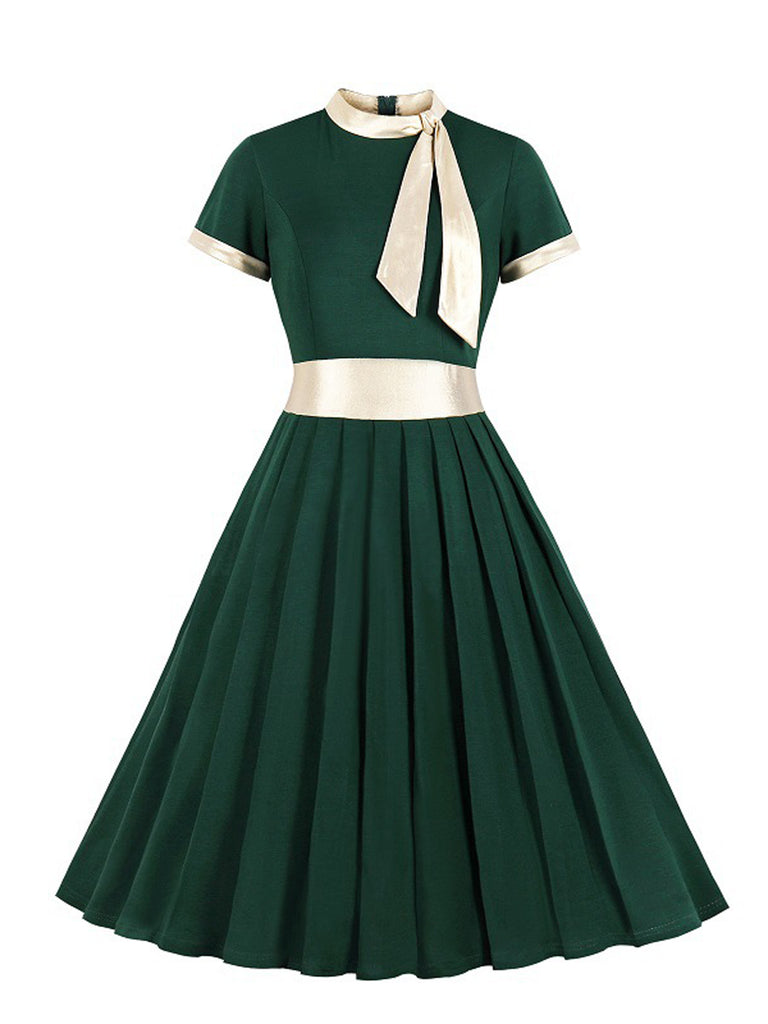 1950s Stand Collar Bow Swing Dress