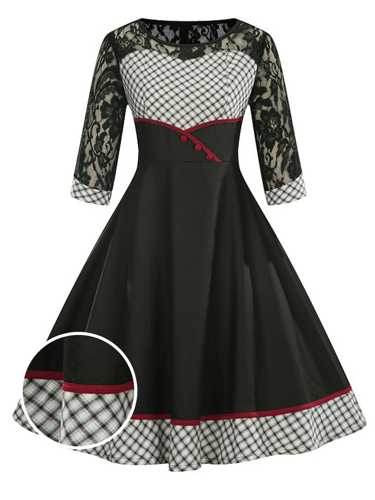 1950s Plaid Patchwork Lace Swing Dress