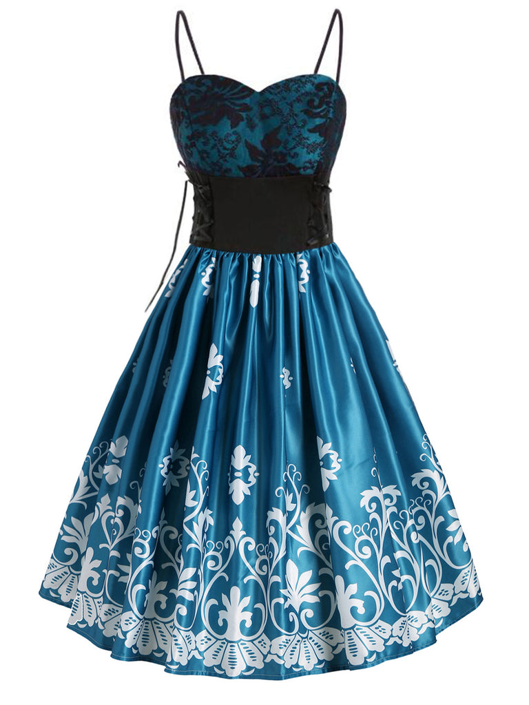 Blue 1950s Floral Lace Up Swing Dress