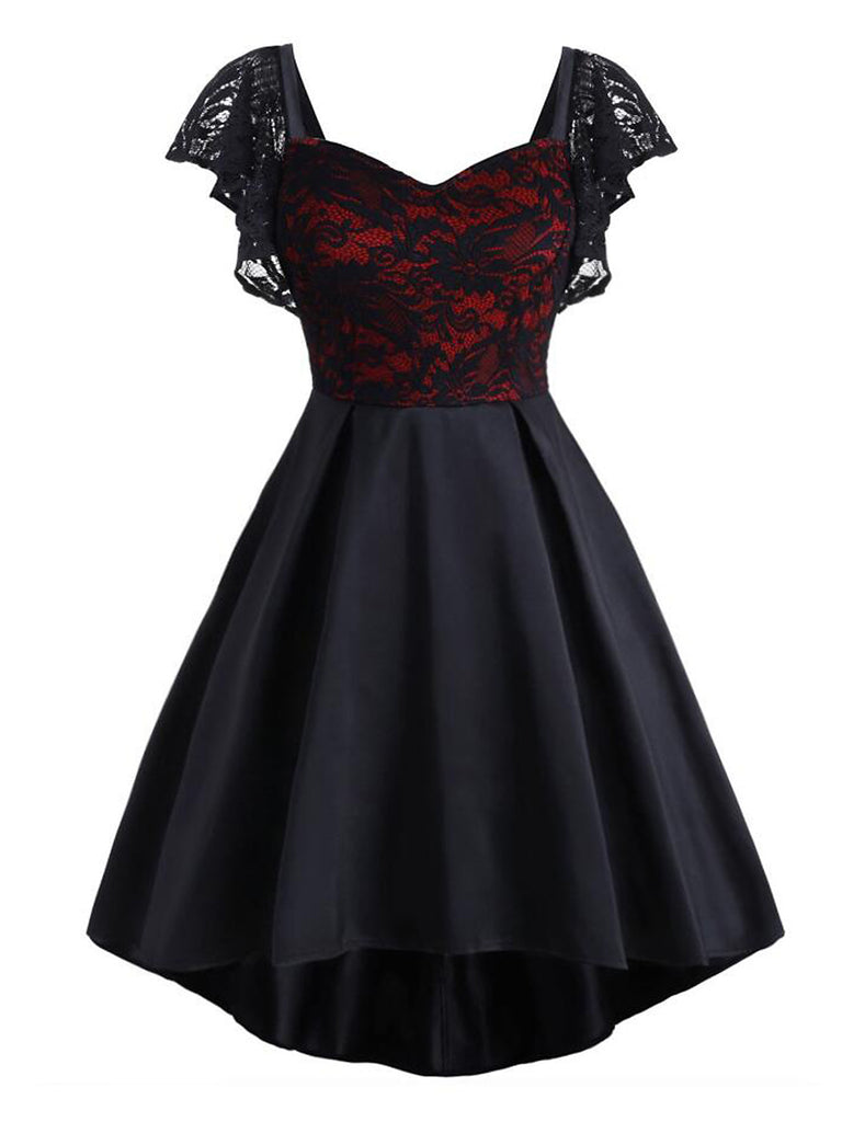 Plus Size Black 1950s Lace Patchwork Dress